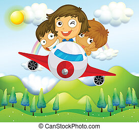 An airplane with three playful kids - Illustration of an...