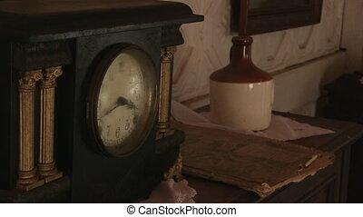 An alarm on table shot - A medium shot of an alarm with...