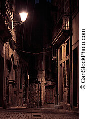 An alley by night - Night view of an alley of old Porto,...