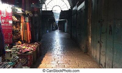 An alley in Jerusalem's Arab market - Shot of An alley in...
