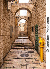 An alley in the old city in Jerusalem.