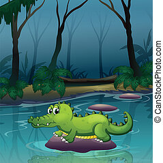 An alligator at the river inside the forest