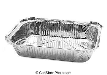 aluminium foil tray - an aluminium foil tray on a white...