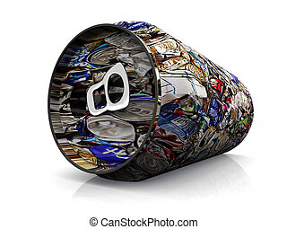 recycling - an aluminum can with recycling illustration