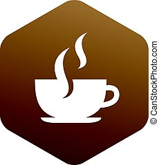 coffee cup inside hexagon symbol