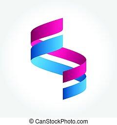 Ribbon Folding logo, Abstract shape vector illustration