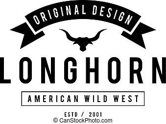 Vintage label with silhouette of bull head. Texas Wild West ...