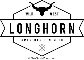 Vintage label with silhouette of bull head. Texas Wild West...