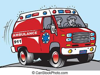 an ambulance on the move