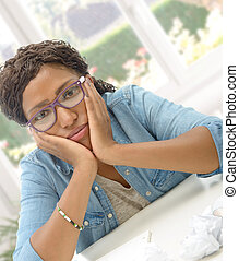 American African business woman tired in his office