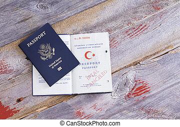 An American and Turkish passport