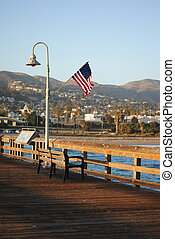 An American flag in Ventura Pier