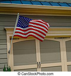 American Flag on Garage Door