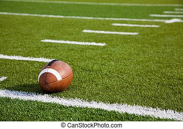 An American football on field