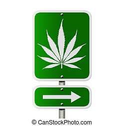 Marijuana this way - An American road sign isolated on white...