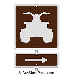 An American road sign isolated on white with a symbol of an ATV, Places to ride ATV