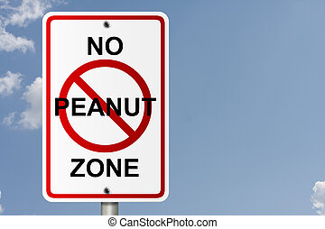 No Peanut Zone - An American road sign with sky background...