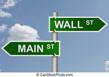 Wall Street and Main Street - An American road sign with sky...