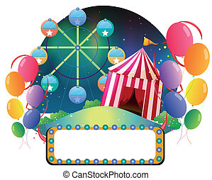 An amusement park - Illustration of an amusement park on a...