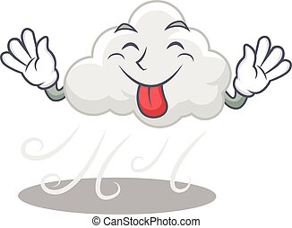 An amusing face cloudy windy cartoon design with tongue out