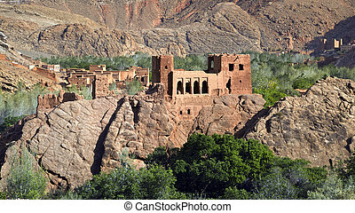 An ancient fortress built in the mountains