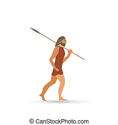 An ancient man with a spear. Isolated object on white background. Vector