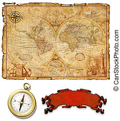 An ancient map with compass.