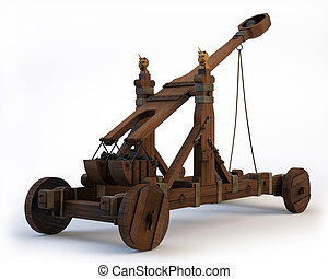 Norman Catapult - An ancient Norman Catapult isolated on a...