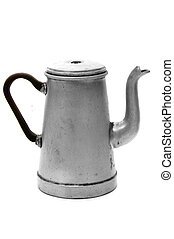an ancient steel coffee pot typical of spain