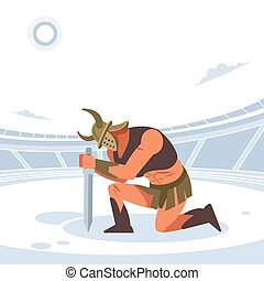 An ancient warrior or Gladiator greets his master in the arena. Vector isolated illustration. Flat cartoon style