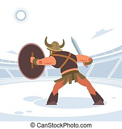 An ancient warrior or Gladiator in battle waiting to attack. Rear view. Vector isolated illustration. Flat cartoon style