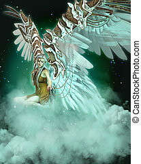 An Angel - an illustration showing an angel sitting on a...