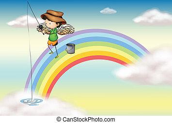 An angel fishing above the rainbow