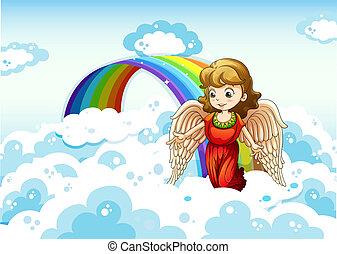 An angel in the sky near the rainbow