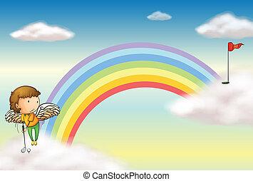 An angel playing golf near the rainbow