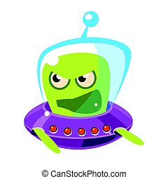 An angry and screaming green alien, cute cartoon monster. Colorful vector character