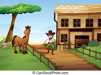 An angry cowboy with a horse at the fence