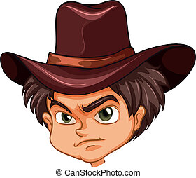 An angry face of a cowboy