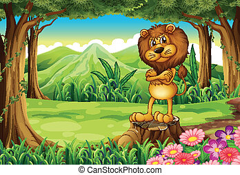 An angry lion standing above the stump at the forest