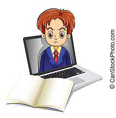 An angry man inside the laptop with a notebook in front