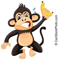 An angry monky on white background