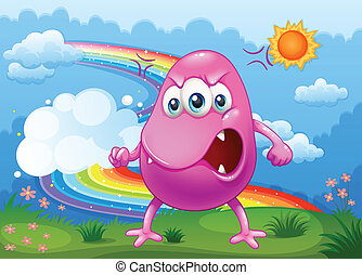 An angry monster with a rainbow in the sky