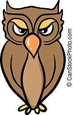 An angry owl, illustration, vector on white background.