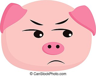 An angry Pig vector or color illustration