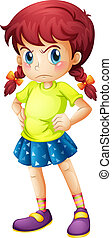 Illustration of an angry young girl on a white background