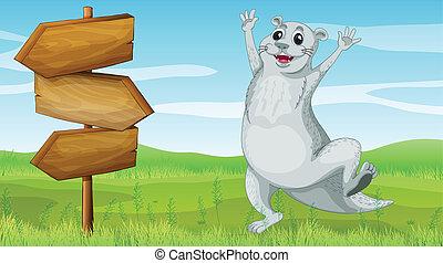 An animal beside a wooden arrow board