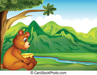 An animal watching the river - Illustration of an animal...