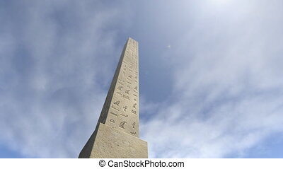 An animation of an obelisk with hieroglyphs. The pillar with...
