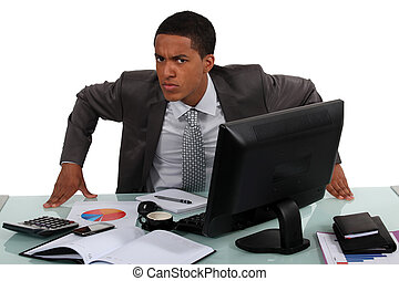 An annoyed businessman