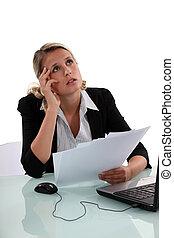 An annoyed businesswoman.